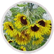 Sunflower Morn II Round Beach Towel by Ecinja Art Works