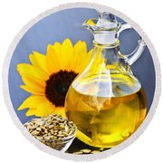 Sunflower Oil Bottle Round Beach Towel