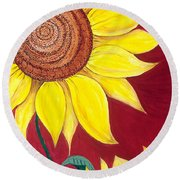 Sunflower On Red Round Beach Towel