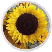 Sunflower Photo With Dry Brush Filter Round Beach Towel