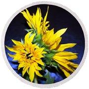Sunflower Portrait Round Beach Towel