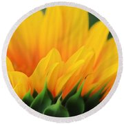 Sunflower Profile Round Beach Towel