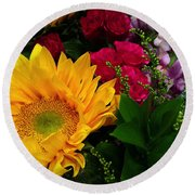 Sunflower Reflections Round Beach Towel