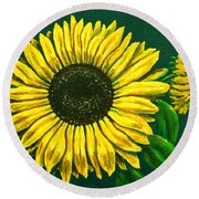 Sunflower Round Beach Towel by Ron Haist
