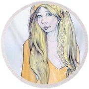 Sunflower Sara Round Beach Towel by Jimmy Adams