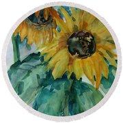 Sunflower - Sold Round Beach Towel