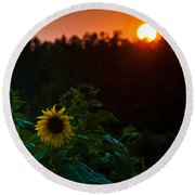 Sunflower Sunset Round Beach Towel by Cheryl Baxter