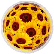 Sunflower Sunshine Round Beach Towel
