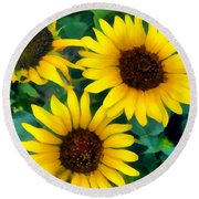 Sunflower Trio  Round Beach Towel by Ann Powell