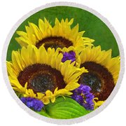 Sunflower Trio Round Beach Towel by Sandi OReilly