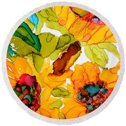 Sunflower Trio Round Beach Towel by Vicki  Housel