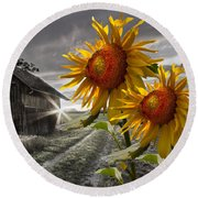 Sunflower Watch Round Beach Towel