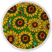 Sunflowers 2 Round Beach Towel