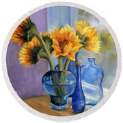 Sunflowers And Blue Bottles Round Beach Towel