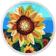 Sunflowers And Blue Sky Round Beach Towel by Genevieve Esson