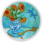 Round Beach Towel featuring the painting Sunflowers And Lizards by Xueling Zou