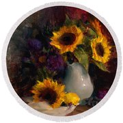 Sunflowers And Porcelain Still Life Round Beach Towel