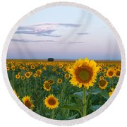 Sunflowers At Sunrise Round Beach Towel