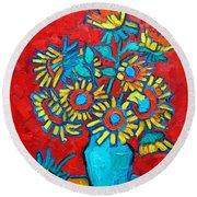 Sunflowers Bouquet Round Beach Towel by Ana Maria Edulescu
