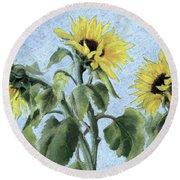 Sunflowers Round Beach Towel by Cristiana Angelini