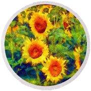 Sunflowers Dance In A Field Round Beach Towel