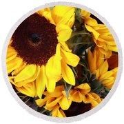 Round Beach Towel featuring the photograph Sunflowers by Dora Sofia Caputo Photographic Art and Design