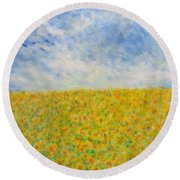 Sunflowers  Field In Texas Round Beach Towel