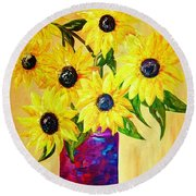 Round Beach Towel featuring the painting Sunflowers In A Red Pot by Eloise Schneider
