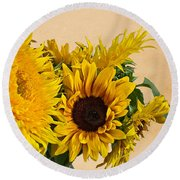 Sunflowers On Old Paper Background Art Prints Round Beach Towel