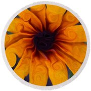Sunflowers On Psychadelics Round Beach Towel