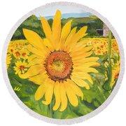 Sunflowers - Red Barn - Pennsylvania Round Beach Towel