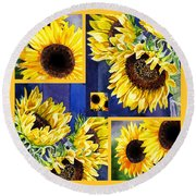 Round Beach Towel featuring the painting Sunflowers Sunny Collage by Irina Sztukowski