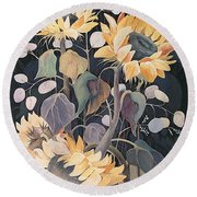 Round Beach Towel featuring the painting Sunflowers' Symphony by Marina Gnetetsky