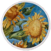 Sunflowers Watercolor Round Beach Towel