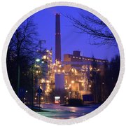 Sunila Pulp Mill By Rainy Night Round Beach Towel
