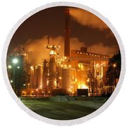 Sunila Pulp Mill By Winter Night Round Beach Towel
