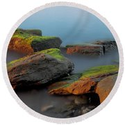 Round Beach Towel featuring the photograph Sunkissed Rocks by Jacqui Boonstra