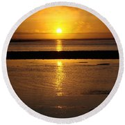 Round Beach Towel featuring the photograph Sunkist Sunset by Athena Mckinzie