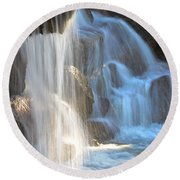 Sunlight On The Falls Round Beach Towel by Deb Halloran
