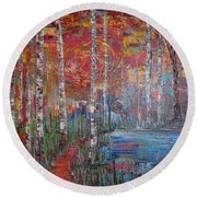 Sunlit Birch Pathway Round Beach Towel