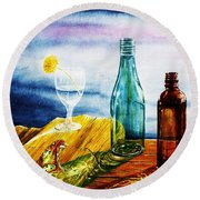 Sunlit Bottles Round Beach Towel
