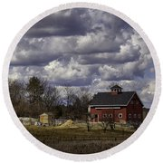 Round Beach Towel featuring the photograph Sunlit Farm by Betty Denise
