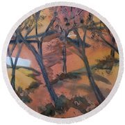 Sunlit Forest Round Beach Towel