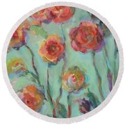 Round Beach Towel featuring the painting Sunlit Garden by Mary Wolf