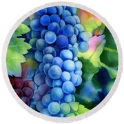Sunlit Grapes Round Beach Towel