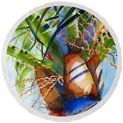 Sunlit Palm Round Beach Towel by Carlin Blahnik