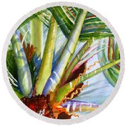 Sunlit Palm Fronds Round Beach Towel