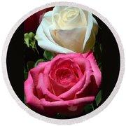 Sunlit Roses Round Beach Towel
