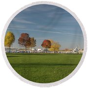 Sunny Autumn Day Round Beach Towel by Jonah  Anderson