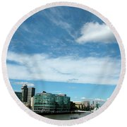 Sunny Day London Round Beach Towel by Jonah  Anderson
